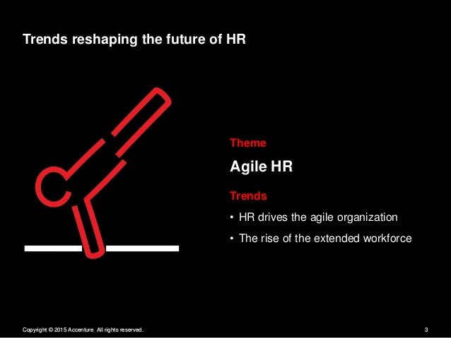 Trends reshaping the future of HR  Theme  Agile HR  Trends - HR drives the agile organization - The rise of the extended w...