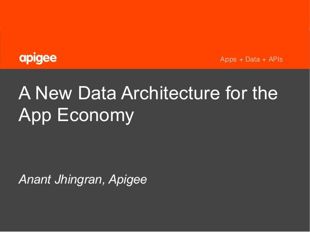 1 ©2013 Apigee. Confidential – All Rights Reserved. Apps + Data + APIs A New Data Architecture for the App Economy Anant J...