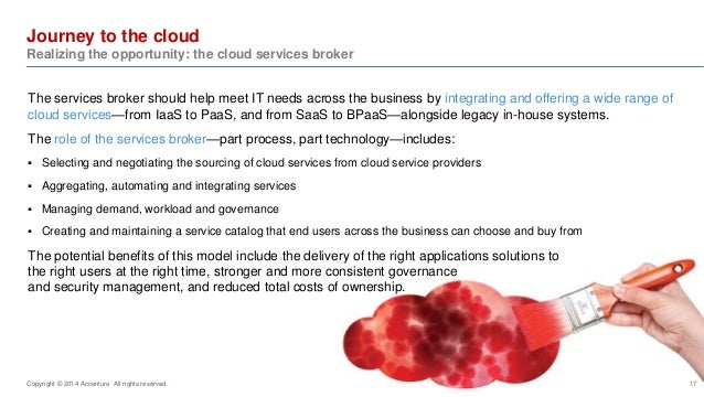 Journey to the cloud  Realizing the opportunity: the cloud services broker  The services broker should help meet IT needs ...