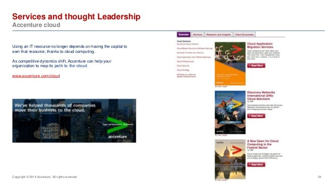 Services and thought Leadership  Accenture cloud  24  Using an IT resource no longer depends on having the capital to  own...