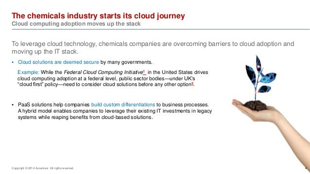 The chemicals industry starts its cloud journey  Cloud computing adoption moves up the stack  Copyright © 2014 Accenture A...