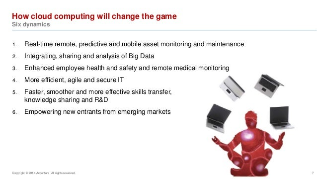 How cloud computing will change the game  Six dynamics  1. Real-time remote, predictive and mobile asset monitoring and ma...