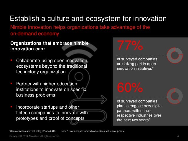 4Copyright © 2016 Accenture All rights reserved. Establish a culture and ecosystem for innovation Nimble innovation helps ...