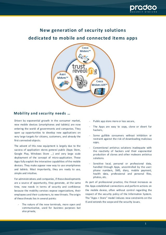 1  New generation of security solutions  dedicated to mobile and connected items apps  Mobility and security needs …  Driv...