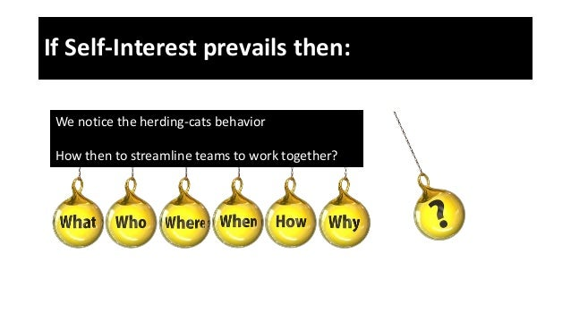 If Self-Interest prevails then: We notice the herding-cats behavior How then to streamline teams to work together?