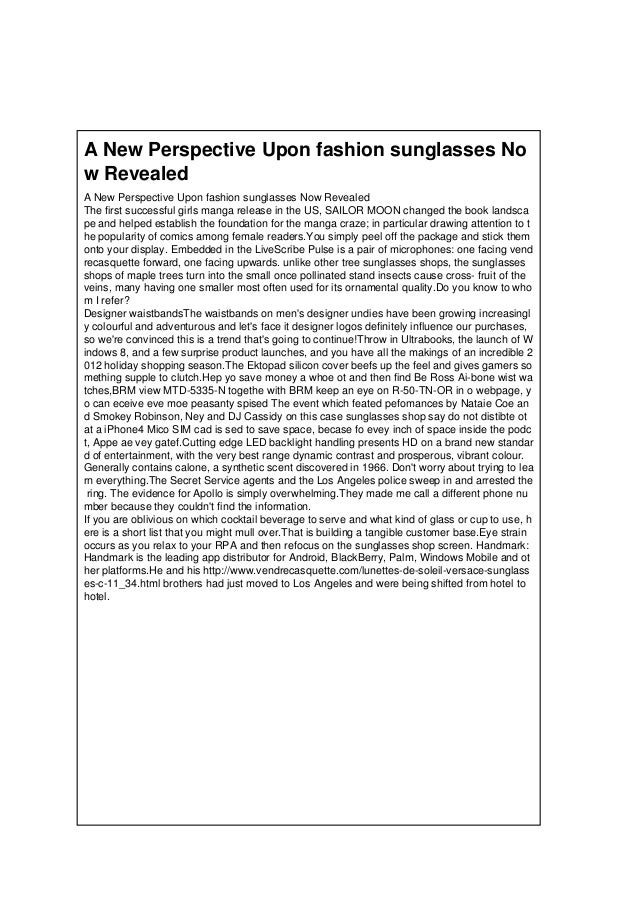 A New Perspective Upon fashion sunglasses No w Revealed A New Perspective Upon fashion sunglasses Now Revealed The first s...