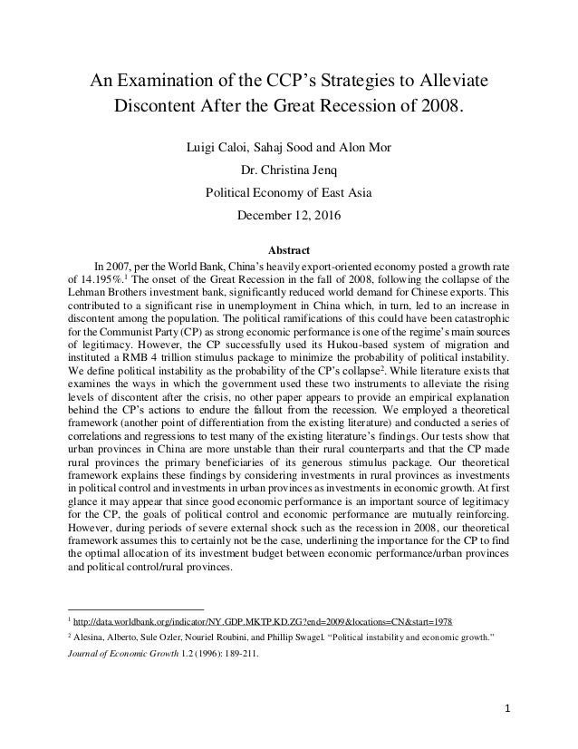 1 An Examination of the CCP's Strategies to Alleviate Discontent After the Great Recession of 2008. Luigi Caloi, Sahaj Soo...