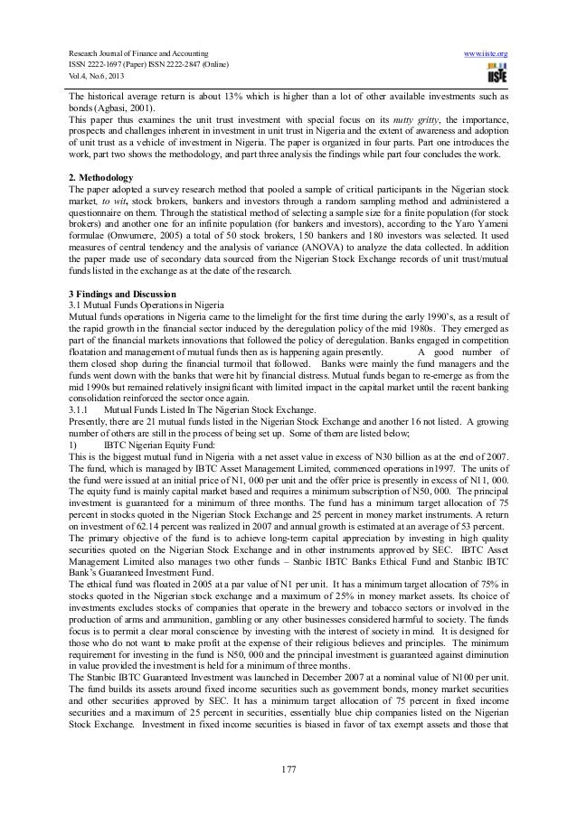 An examination of the unit trust scheme mutual fund as a