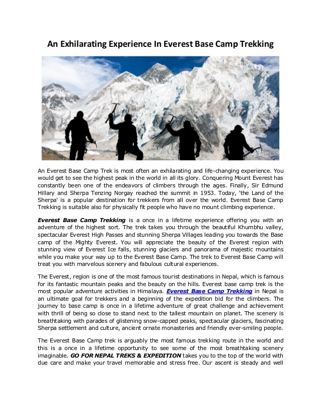 An Exhilarating Experience In Everest Base Camp Trekking An Everest Base Camp Trek is most often an exhilarating and life-...