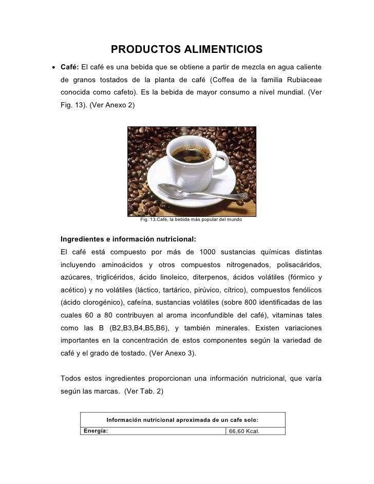 PRODUCTOS ALIMENTICIOS Café: El café es una bebida que se obtiene a partir de mezcla en agua caliente  de granos tostados...