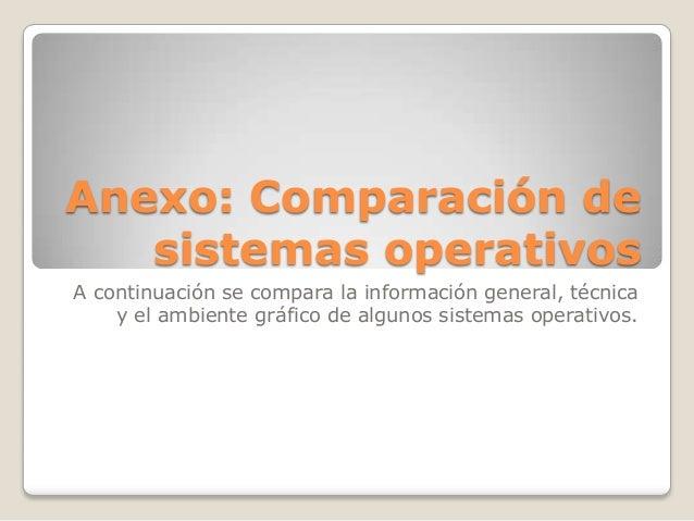 Anexo: Comparación desistemas operativosA continuación se compara la información general, técnicay el ambiente gráfico de ...