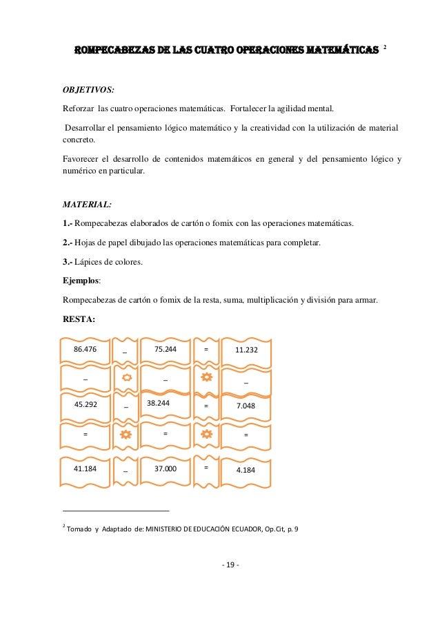 Guia de Refuerzo para las operaciones matematicas