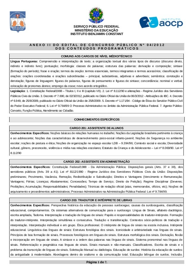 SERVIÇO PÚBLICO FEDERAL                                                   MINISTÉRIO DA EDUCAÇÃO                          ...