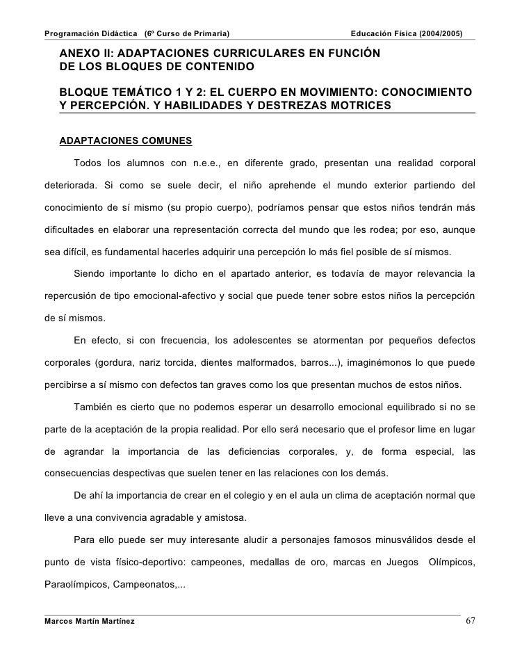 Programación Didáctica (6º Curso de Primaria)                         Educación Física (2004/2005)     ANEXO II: ADAPTACIO...