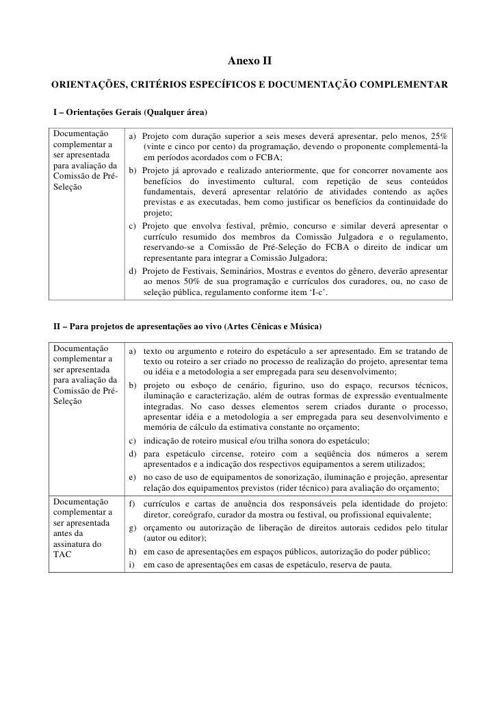Anexo IIORIENTAÇÕES, CRITÉRIOS ESPECÍFICOS E DOCUMENTAÇÃO COMPLEMENTARI – Orientações Gerais (Qualquer área)Documentação  ...