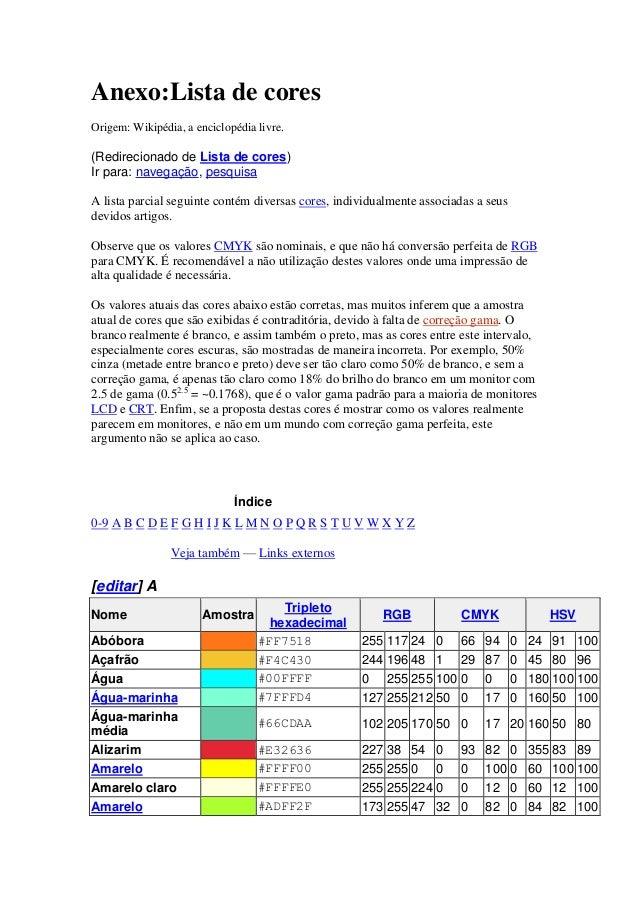 Anexo:Lista de cores  Origem: Wikipédia, a enciclopédia livre.  (Redirecionado de Lista de cores)  Ir para: navegação, pes...
