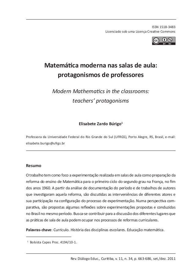 Rev. Diálogo Educ., Curitiba, v. 11, n. 34, p. 663-686, set./dez. 2011 ISSN 1518-3483 Licenciado sob uma Licença Creative ...