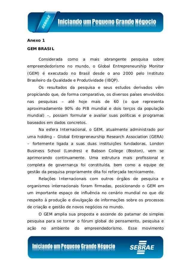 Anexo 1 GEM BRASIL Considerada como a mais abrangente pesquisa sobre empreendedorismo no mundo, o Global Entrepreneurship ...