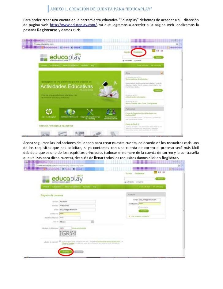 """-55245746125Para poder crear una cuenta en la herramienta educativa """"Educaplay"""" debemos de acceder a su  dirección de pagi..."""