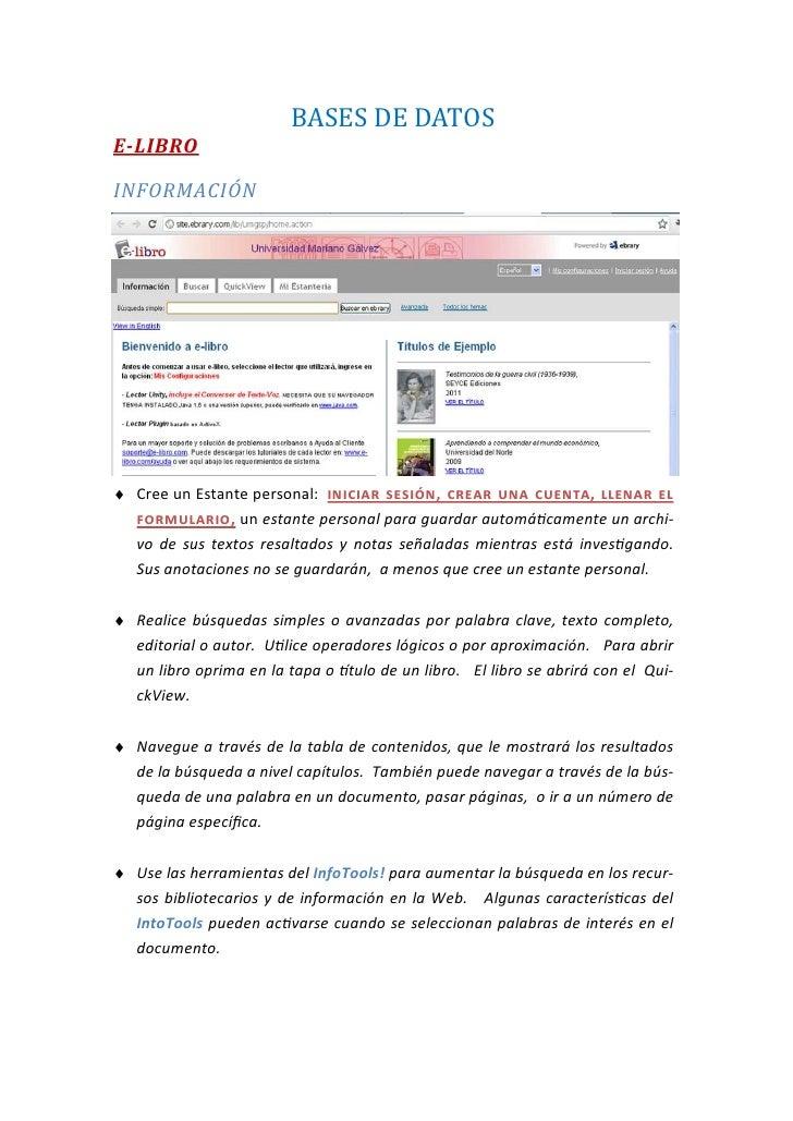 BASESDEDATOSE-LIBROINFORMACIÓN♦ Cree un Estante personal:                 ,                   ,               , un es...