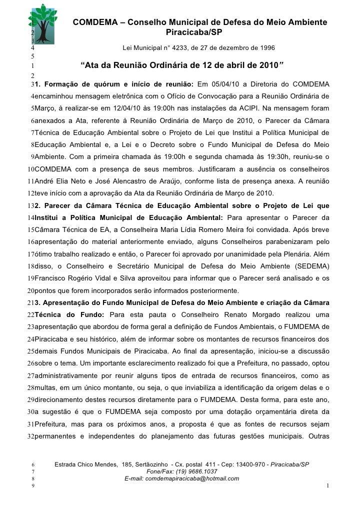 1            COMDEMA – Conselho Municipal de Defesa do Meio Ambiente  2                              Piracicaba/SP  3  4  ...