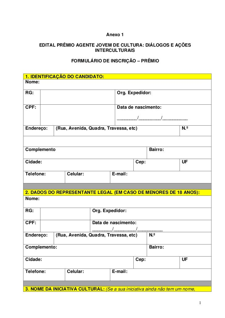 Anexo 1       EDITAL PRÊMIO AGENTE JOVEM DE CULTURA: DIÁLOGOS E AÇÕES                           INTERCULTURAIS            ...
