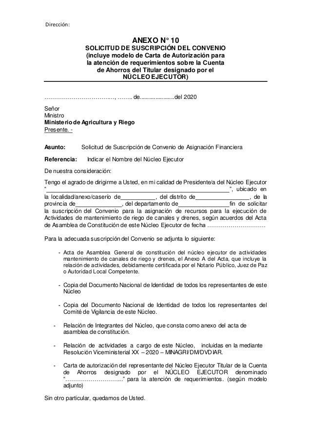 Dirección: ANEXO N° 10 SOLICITUD DE SUSCRIPCIÓN DEL CONVENIO (incluye modelo de Carta de Autorización para la atención de ...