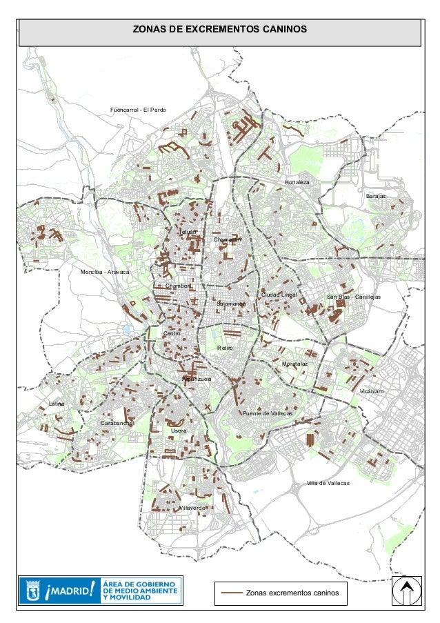 Ciudad Lineal Madrid Mapa.Mapa De Madrid Con Las Zonas De Excrementos De Perros