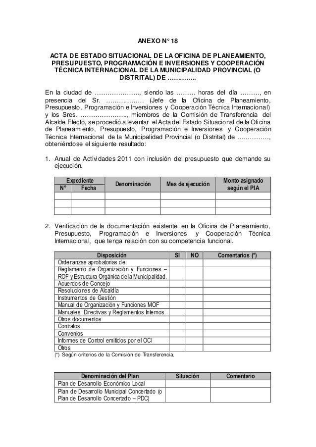 ANEXO N° 18 ACTA DE ESTADO SITUACIONAL DE LA OFICINA DE PLANEAMIENTO, PRESUPUESTO, PROGRAMACIÓN E INVERSIONES Y COOPERACIÓ...