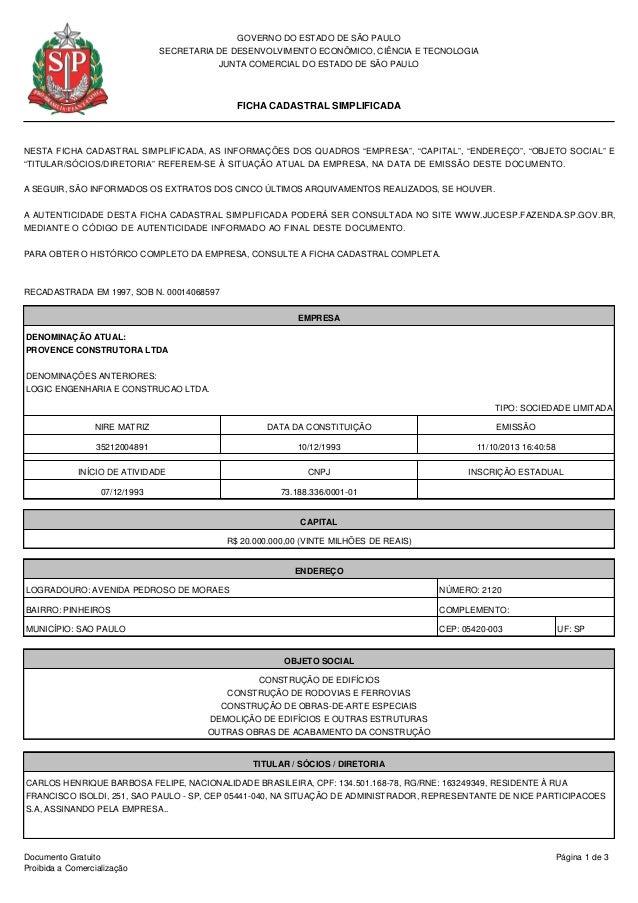 GOVERNO DO ESTADO DE SÃO PAULO SECRETARIA DE DESENVOLVIMENTO ECONÔMICO, CIÊNCIA E TECNOLOGIA JUNTA COMERCIAL DO ESTADO DE ...