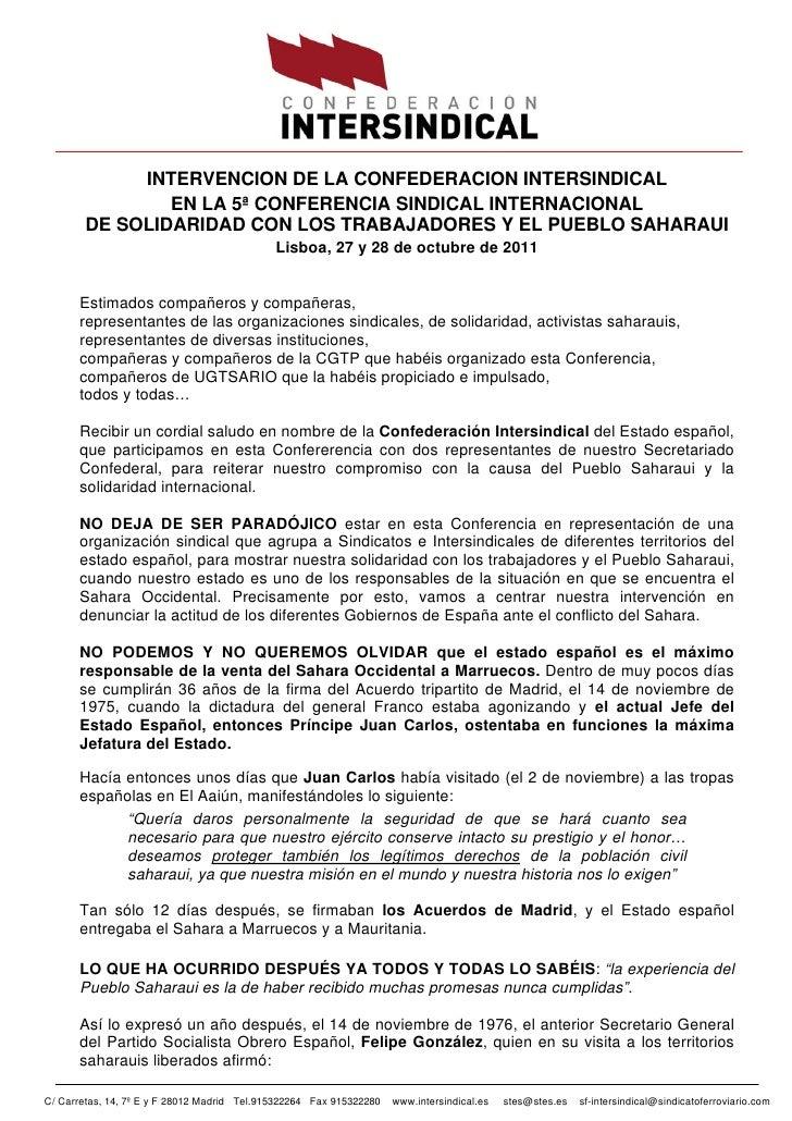 INTERVENCION DE LA CONFEDERACION INTERSINDICAL                EN LA 5ª CONFERENCIA SINDICAL INTERNACIONAL        DE SOLIDA...