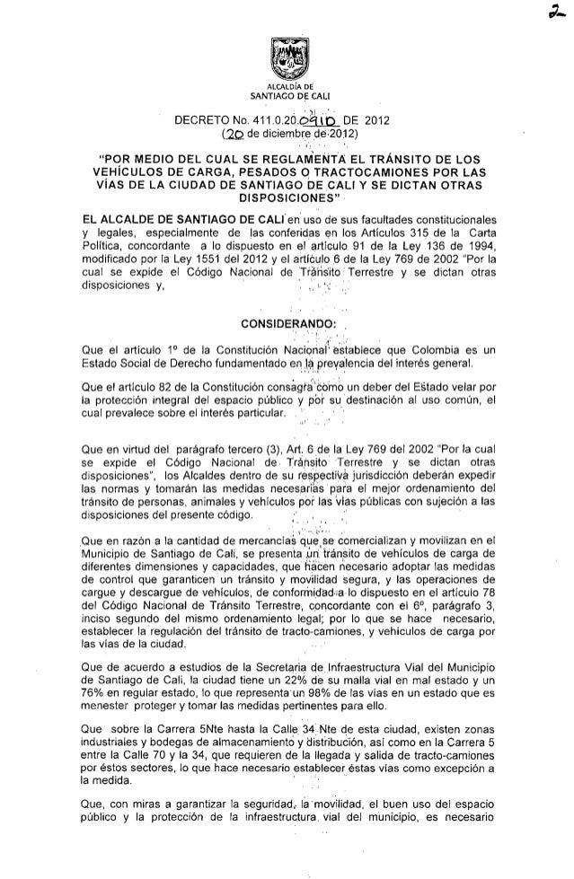 """_Que en razón a la cantidad de mercancías     ALCALDÍA DE' SANTIAGO D_E CALI  DECRETO No.  411.o.2ó. óa"""""""" (p.  O DE 2012 (..."""