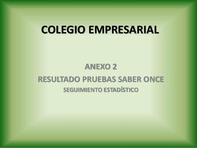 COLEGIO EMPRESARIAL ANEXO 2 RESULTADO PRUEBAS SABER ONCE SEGUIMIENTO ESTADÍSTICO
