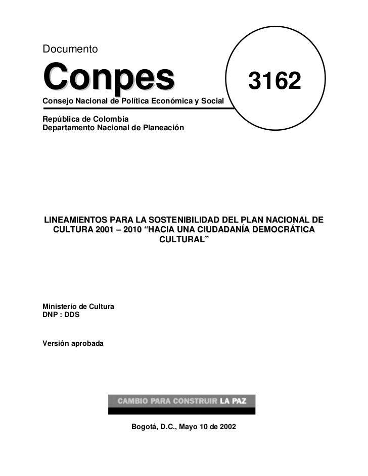 DocumentoConpesConsejo Nacional de Política Económica y Social                                                        3162...