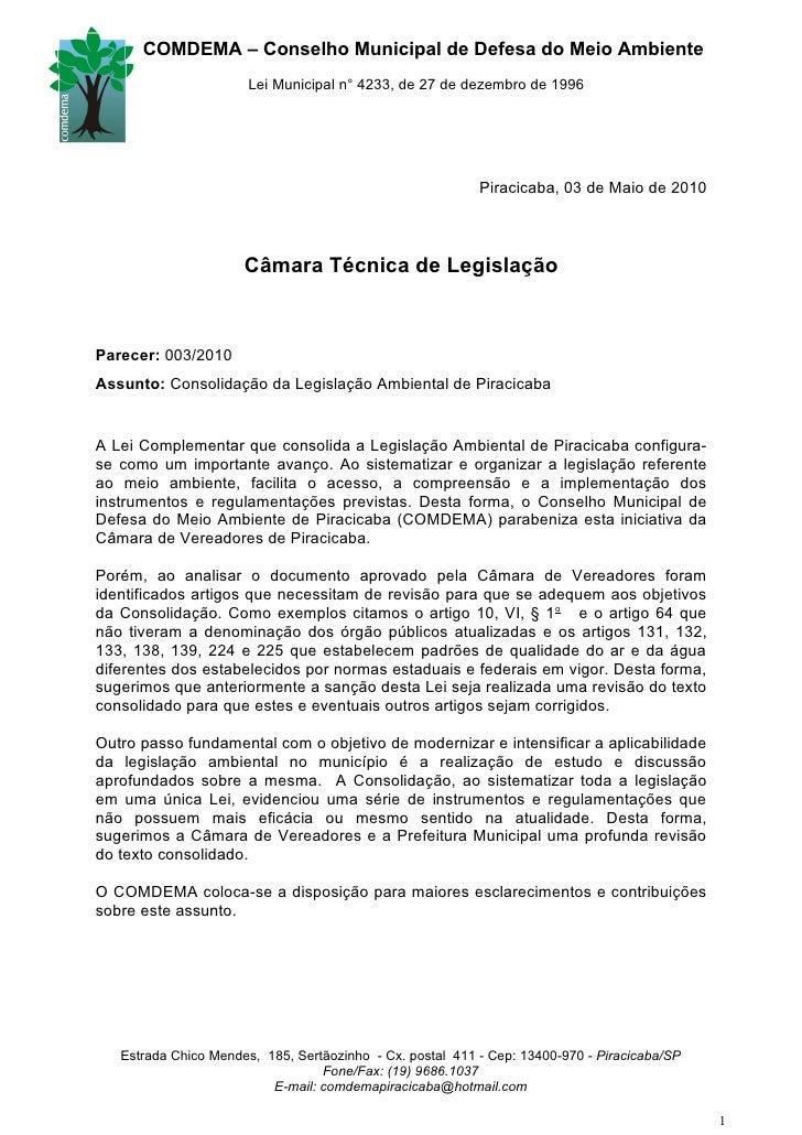 COMDEMA – Conselho Municipal de Defesa do Meio Ambiente                        Lei Municipal n° 4233, de 27 de dezembro de...
