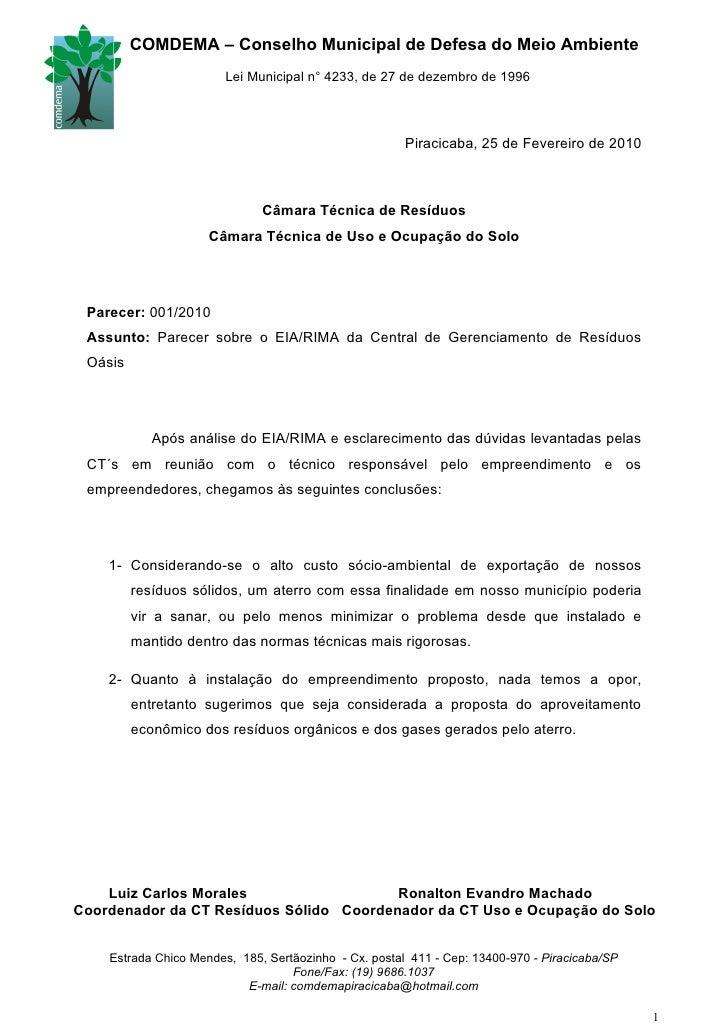 COMDEMA – Conselho Municipal de Defesa do Meio Ambiente                         Lei Municipal n° 4233, de 27 de dezembro d...
