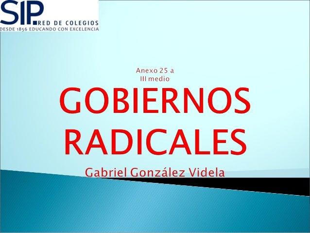  Gabriel González Videla llega al gobierno gracias al apoyo de los radicales, socialistas y comunistas.  El partido libe...