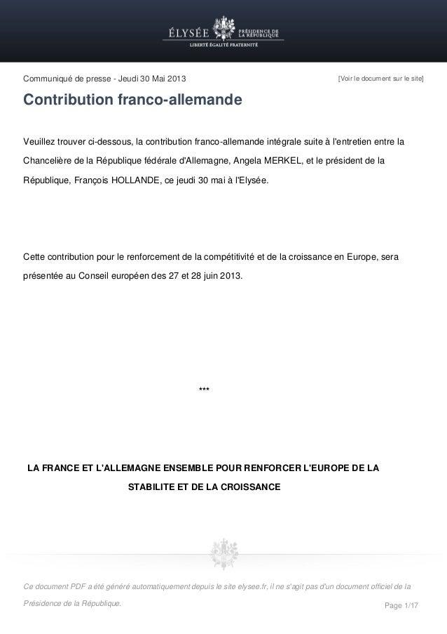Communiqué de presse - Jeudi 30 Mai 2013  [Voir le document sur le site]  Contribution franco-allemande Veuillez trouver c...