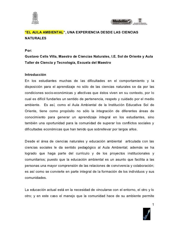 """""""EL AULA AMBIENTAL"""", UNA EXPERIENCIA DESDE LAS CIENCIASNATURALESPor:Gustavo Celis Villa, Maestro de Ciencias Naturales, I...."""