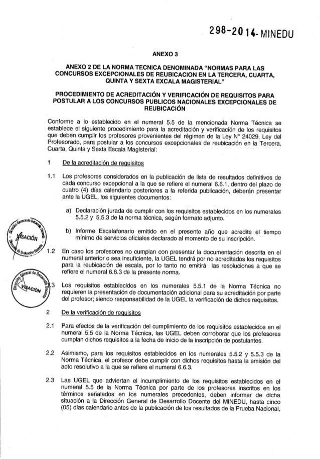 """293-20l4-MlNEDU  ANEXO 3  ANEXO 2 DE LA NORMA TECNICA DENOMINADA """"NORMAS PARA LAS CONCURSOS EXCEPCIONALES DE REUBICACION E..."""