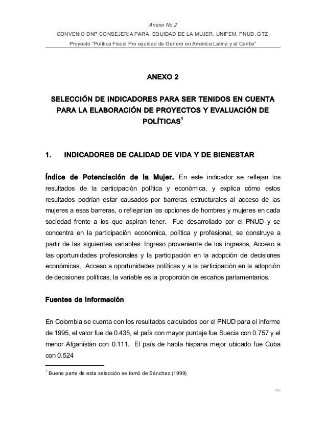"""Anexo No.2 CONVENIO DNP CONSEJERIA PARA EQUIDAD DE LA MUJER, UNIFEM, PNUD, GTZ Proyecto """"Política Fiscal Pro equidad de Gé..."""