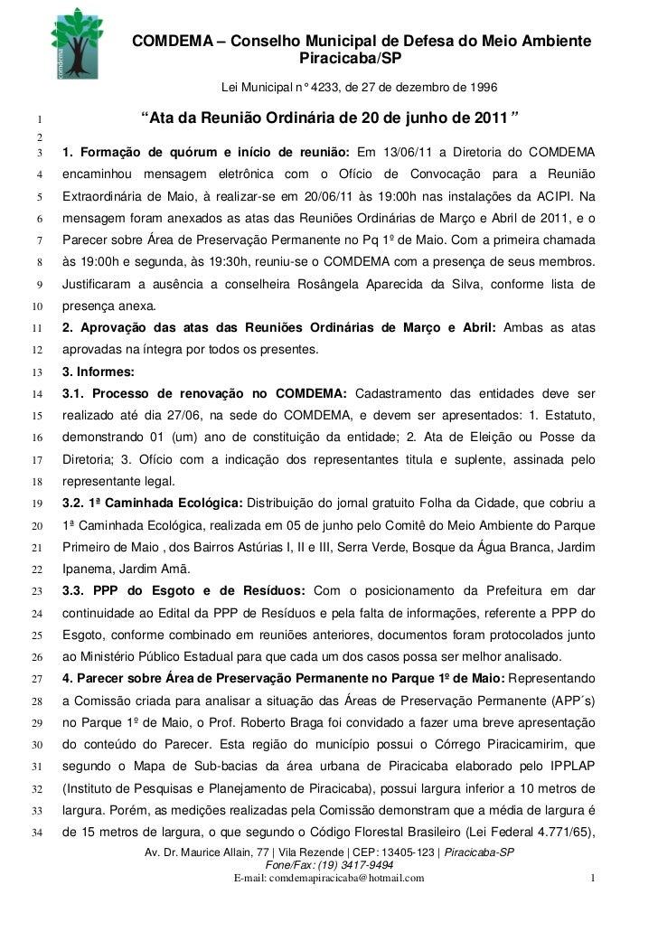COMDEMA – Conselho Municipal de Defesa do Meio Ambiente                                   Piracicaba/SP                   ...