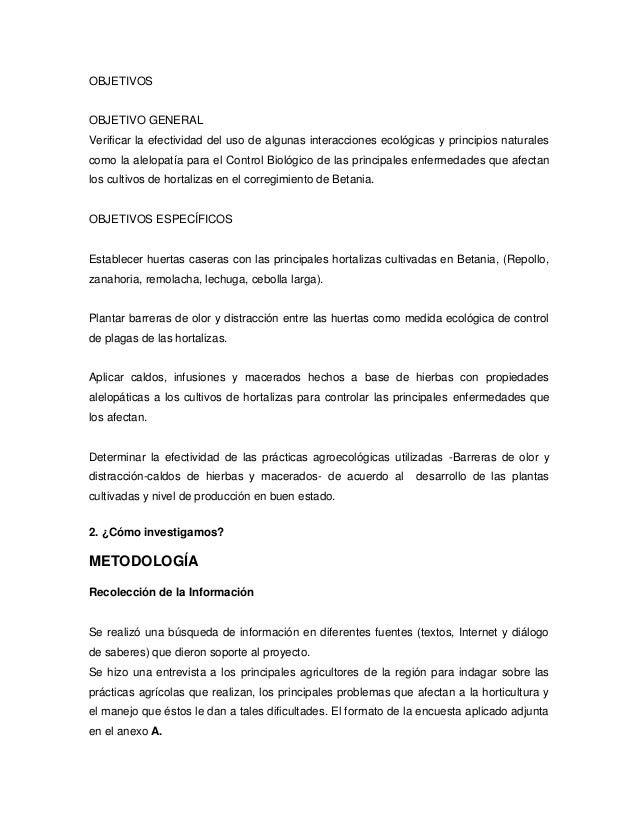 Anexo 3 ejemplo proyecto de investigaci n for Alelopatia en hortalizas