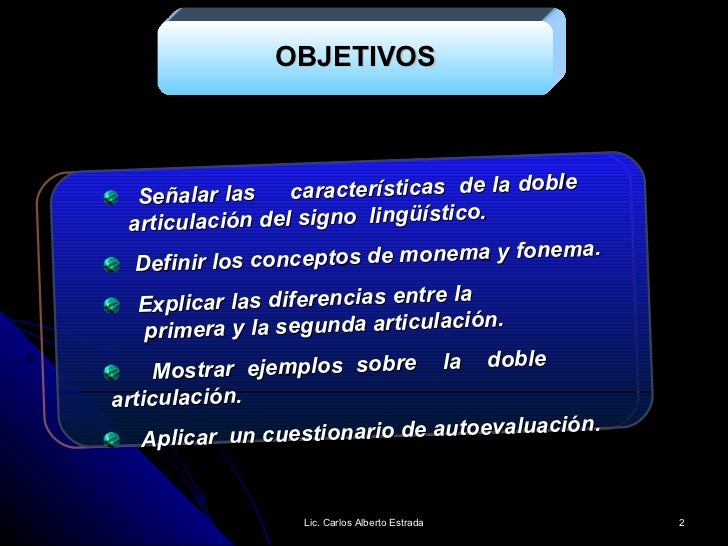 La doble articulación del signo linguístico. Slide 2