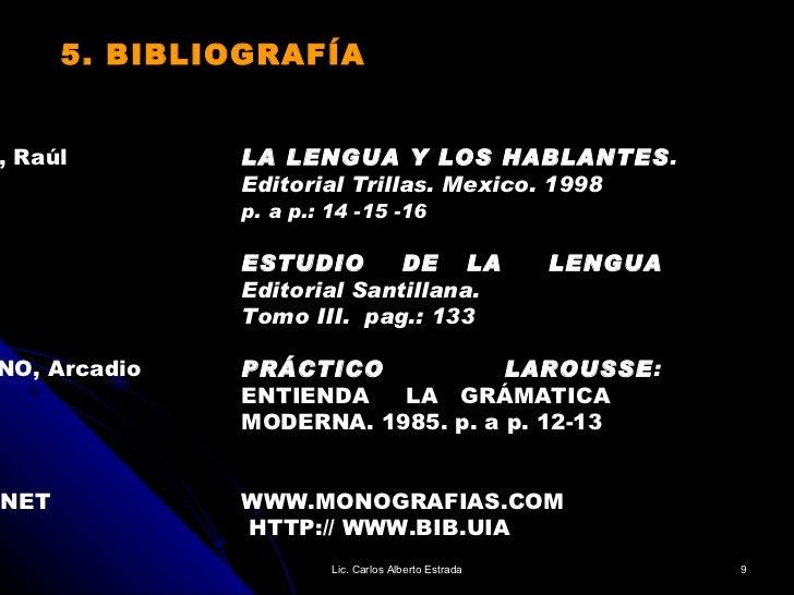 5. BIBLIOGRAFÍA ÁVILA, Raúl LA LENGUA Y LOS HABLANTES . Editorial Trillas. Mexico. 1998 p. a p.: 14 -15 -16   ESTUDIO  DE ...