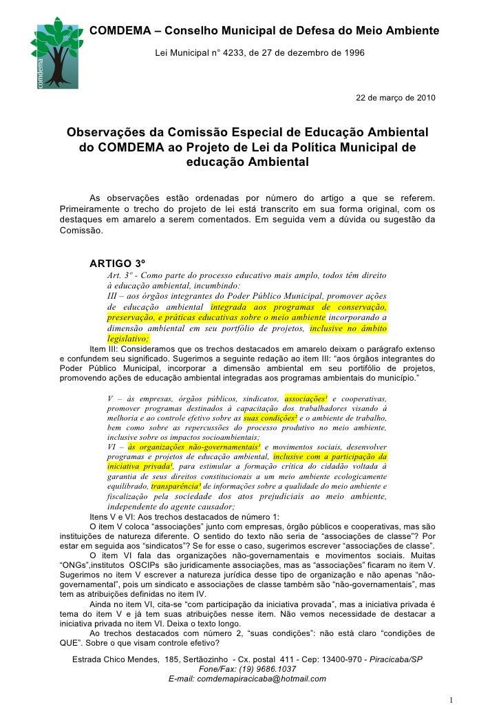 COMDEMA – Conselho Municipal de Defesa do Meio Ambiente                           Lei Municipal n° 4233, de 27 de dezembro...
