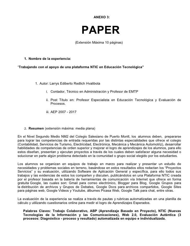 ANEXO 3:                                              PAPER                                      (Extensión Máxima 10 pági...