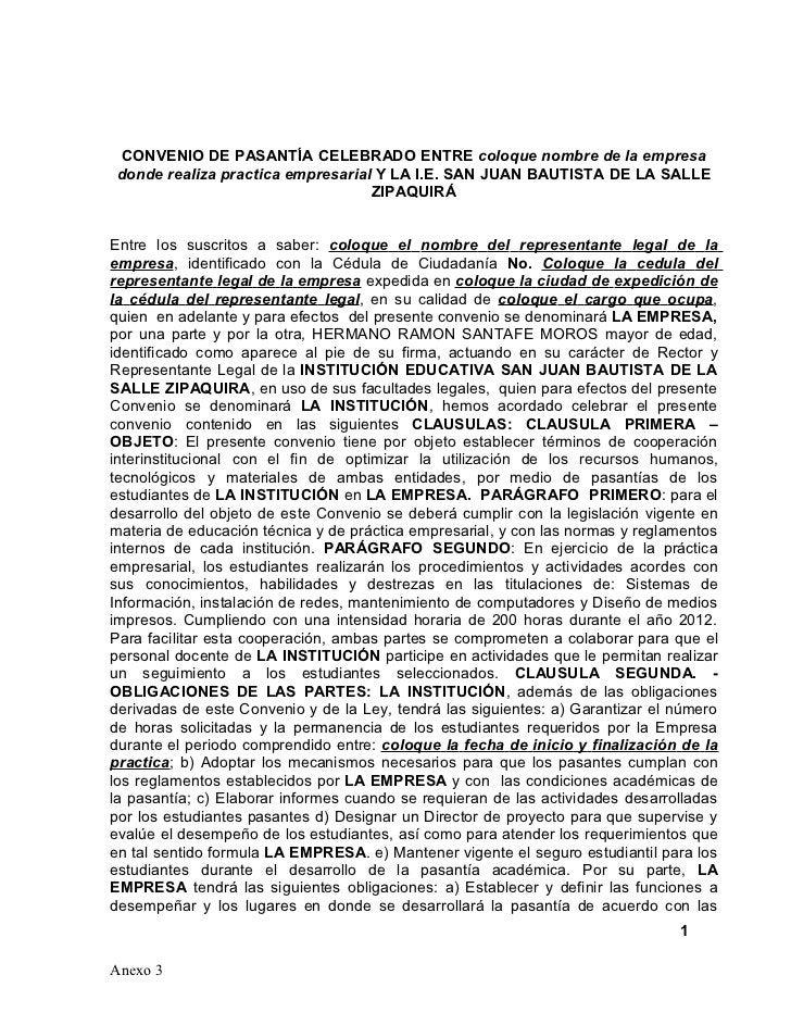 CONVENIO DE PASANTÍA CELEBRADO ENTRE coloque nombre de la empresadonde realiza practica empresarial Y LA I.E. SAN JUAN BAU...