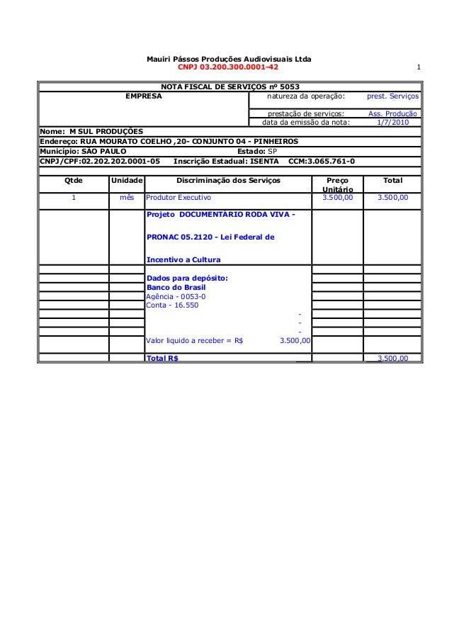 1prest. ServiçosAss. Produção1/7/2010Qtde Unidade PreçoUnitárioTotal1 mês 3.500,00 3.500,00Dados para depósito:Banco do Br...