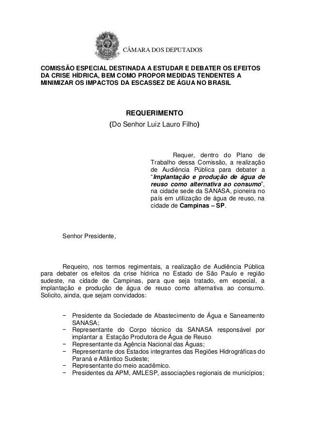 CÂMARA DOS DEPUTADOS COMISSÃO ESPECIAL DESTINADA A ESTUDAR E DEBATER OS EFEITOS DA CRISE HÍDRICA, BEM COMO PROPOR MEDIDAS ...